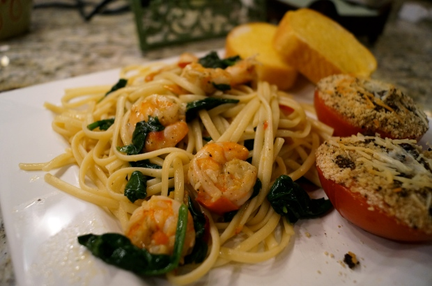 Scrimp Scampi with Roasted Peppers and Spinach