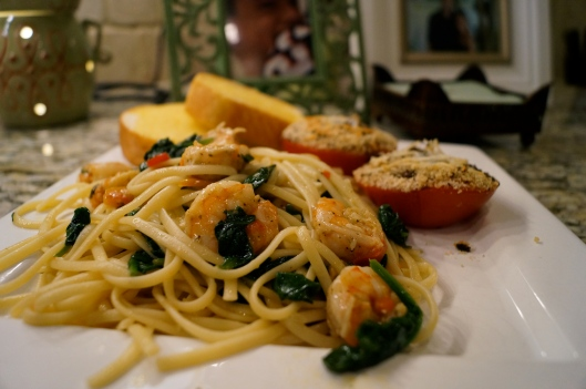 Scrimp Scampi with Roasted Red Peppers and Spinach.  pooreamy.com